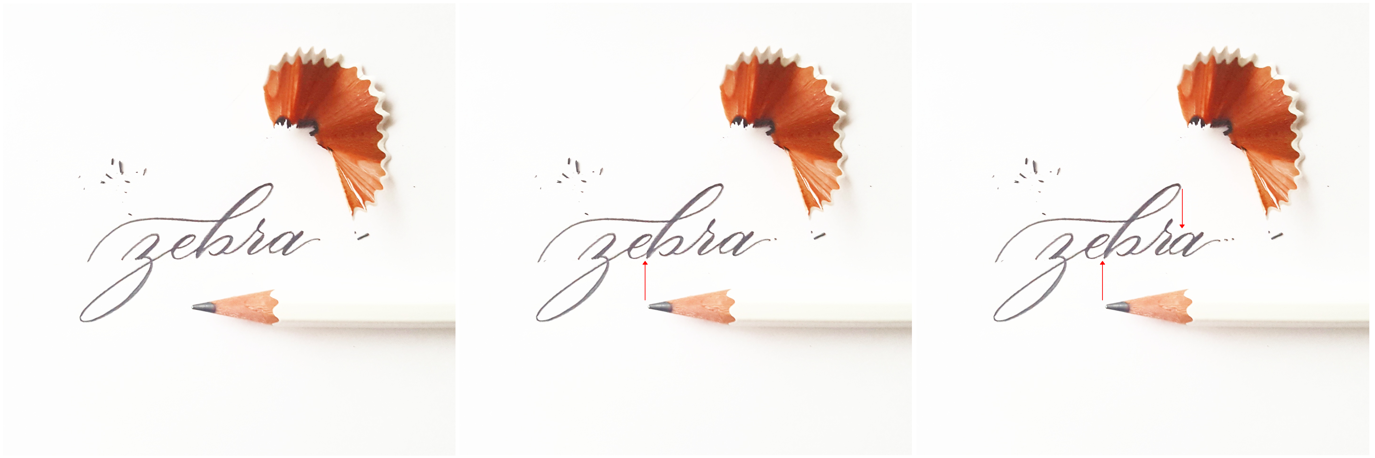 Parctice brush lettering with a pencil and keep an eye out after cluttered words where the spacing is uneven