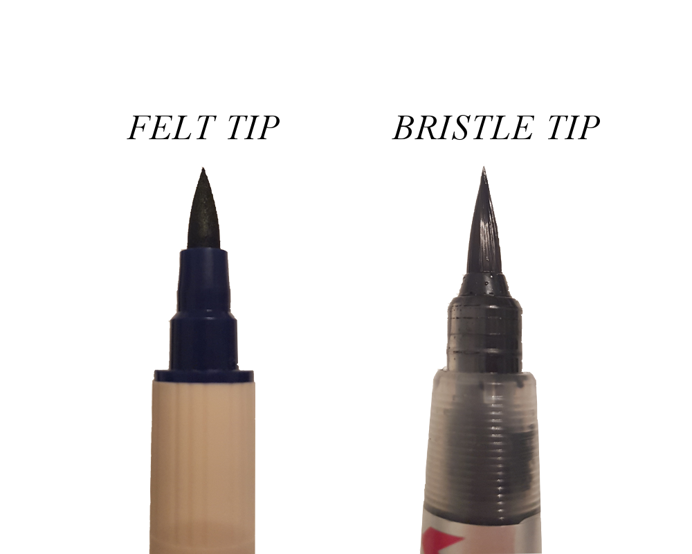 The felt tip pen although flexible is not as the bristle tip which has tiny hairs that can flex in all directions.