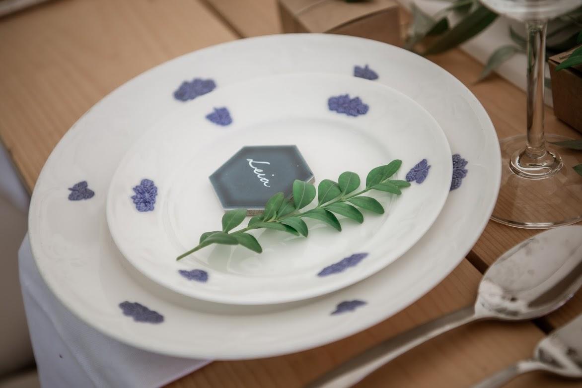 blue tile wedding place card for outdoor wedding custom calligraphy by artbyrim