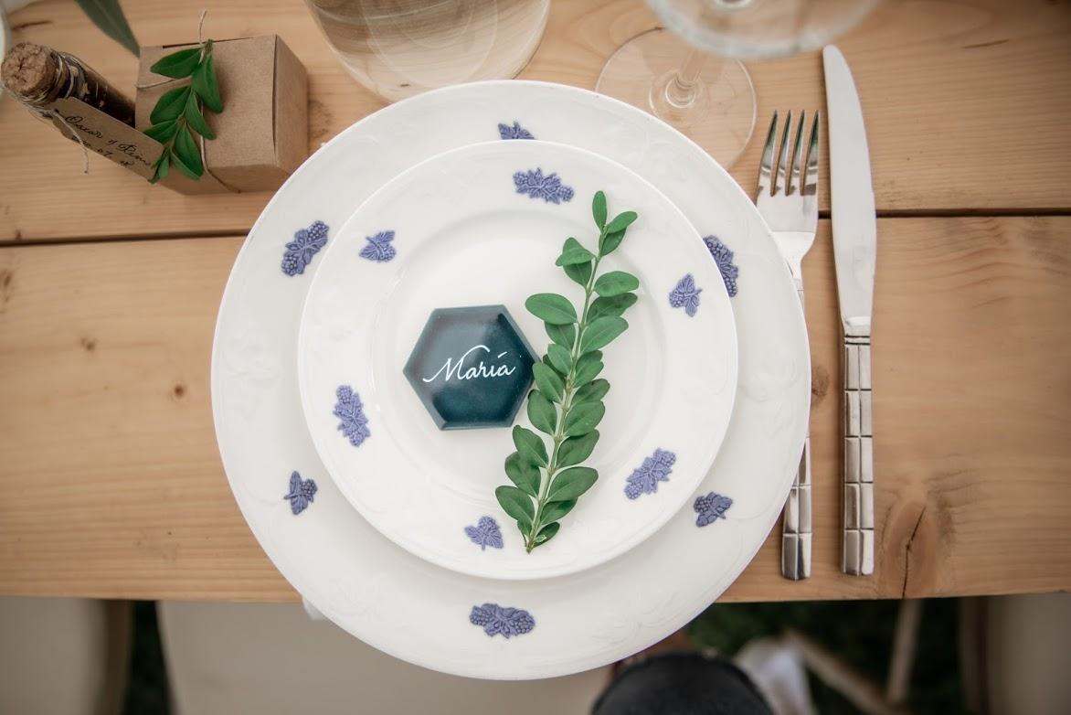 artbyrim custom calligraphy lettering place card on blue tile for wedding